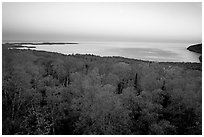 Forests and Lake Superior at Dusk. Minnesota, USA ( black and white)