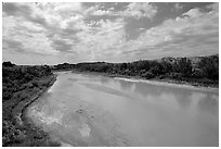 Little Missouri River. North Dakota, USA (black and white)