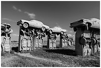 Vintage American automobiles forming replica of Stonehenge. Alliance, Nebraska, USA (black and white)