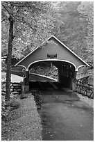 Pemigewasset River covered bridge, Franconia Notch State Park. New Hampshire, USA ( black and white)