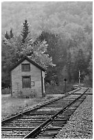Railroad tracks and shack in autumn, White Mountain National Forest. New Hampshire, USA ( black and white)