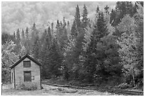 Shack and railway tracks in the fall, White Mountain National Forest. New Hampshire, USA (black and white)