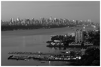 Manhattan seen from Fort Lee, New Jersey, sunrise. NYC, New York, USA ( black and white)