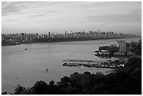 New Jersey shore and Manhattan from Fort Lee. NYC, New York, USA ( black and white)