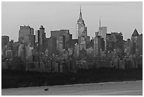 New York skyline  with Empire State Building, sunrise. NYC, New York, USA ( black and white)