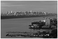 New York City seen from New Jersey, early morning. NYC, New York, USA ( black and white)