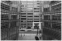 One Beacon Court courtyard from building. NYC, New York, USA (black and white)