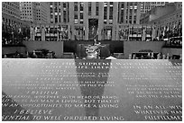 Plaque with the credo of John D Rockefeller, Rockefeller Plaza. NYC, New York, USA (black and white)