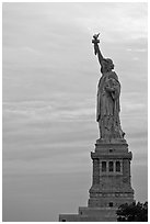 Liberty Enlightening the World, side view, evening. NYC, New York, USA ( black and white)