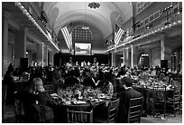 Gala dinner inside Main Building, Ellis Island. NYC, New York, USA ( black and white)