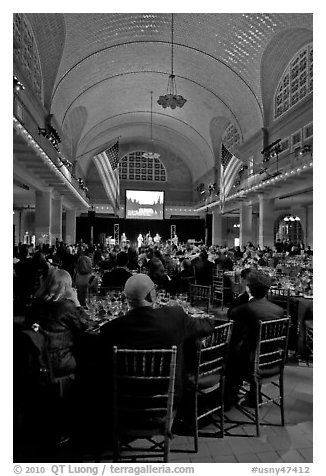 NPCA gala inside Immigration Museum, Ellis Island. NYC, New York, USA (black and white)