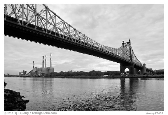 Queensboro bridge and power station. NYC, New York, USA