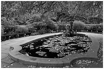 Pool and sculpture, South Garden, Central Park. NYC, New York, USA ( black and white)