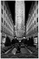 Rockefeller center by night. NYC, New York, USA (black and white)