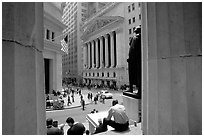 Wall Street stock exchange (NYSE). NYC, New York, USA (black and white)