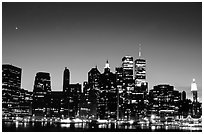 South Manhattan and WTC from Brooklyn, dusk. NYC, New York, USA ( black and white)