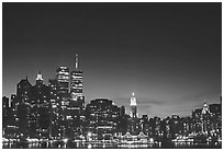 South Manhattan and World Trade Center from Brooklyn, dusk. NYC, New York, USA ( black and white)