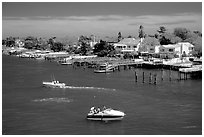 Canal and houses in Long Beach. Long Island, New York, USA (black and white)