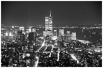 Lower Manhattan seen from the Empire State Building at night. NYC, New York, USA ( black and white)