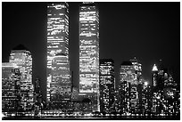 World Trade Center Twin Towers at night. NYC, New York, USA ( black and white)