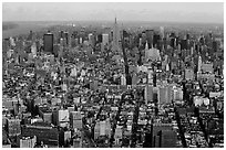 Midtown and Upper Manhattan, seen from the World Trade Center. NYC, New York, USA ( black and white)