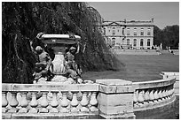 Statues and mansion in French eighteenth-century style. Newport, Rhode Island, USA (black and white)