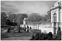 Sunken garden and pavilions, The Elms. Newport, Rhode Island, USA (black and white)