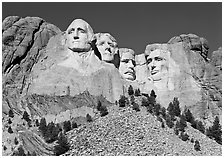 Monumental sculpture of US presidents carved in clif, Mount Rushmore National Memorial. South Dakota, USA (black and white)