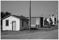 Street with jail and church, Interior. South Dakota, USA (black and white)
