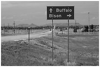 Sign pointing to Bison, Buffalo. South Dakota, USA (black and white)