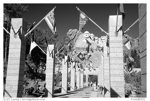 Alley of the Flags, with flags from each of the 50 US states, Mt Rushmore National Memorial. South Dakota, USA (black and white)