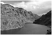 Hells Canyon Reservoir. Hells Canyon National Recreation Area, Idaho and Oregon, USA ( black and white)