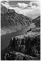 Cliffs and canyon. Hells Canyon National Recreation Area, Idaho and Oregon, USA ( black and white)