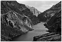 Snake River Gorge. Hells Canyon National Recreation Area, Idaho and Oregon, USA ( black and white)