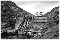 Hells Canyon Dam. Hells Canyon National Recreation Area, Idaho and Oregon, USA ( black and white)