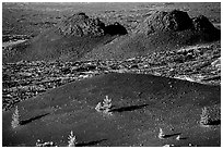 Cinder cone and lava plugs, Craters of the Moon National Monument. Idaho, USA (black and white)
