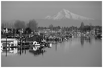 North Portland Harbor, houseboats, and Mt Hood. Portland, Oregon, USA ( black and white)