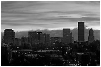 Downtown skyline with colorful sky at sunrise. Portland, Oregon, USA ( black and white)