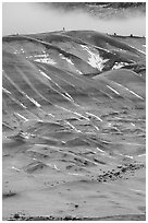 Painted hills in winter. John Day Fossils Bed National Monument, Oregon, USA ( black and white)