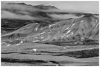 Painted hills at dusk in winter. John Day Fossils Bed National Monument, Oregon, USA (black and white)