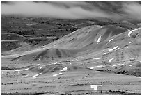 Painted hills and fog, winter dusk. John Day Fossils Bed National Monument, Oregon, USA (black and white)