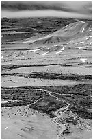 Blue light on Painted hills at dusk. John Day Fossils Bed National Monument, Oregon, USA ( black and white)