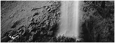 Waterfall and mossy cliffs. Oregon, USA (Panoramic black and white)