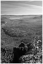 East Lake and big obsidian flow from Paulina Peak. Newberry Volcanic National Monument, Oregon, USA (black and white)