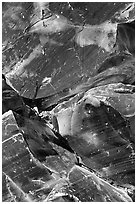 Obsidian glass close-up. Newberry Volcanic National Monument, Oregon, USA (black and white)