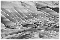 Colorful layers of rock on eroded hills. John Day Fossils Bed National Monument, Oregon, USA (black and white)