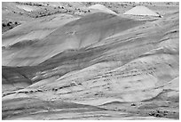 Weathered volcanic ash hills. John Day Fossils Bed National Monument, Oregon, USA ( black and white)