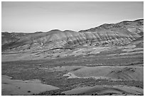 Painted hills at dusk. John Day Fossils Bed National Monument, Oregon, USA ( black and white)