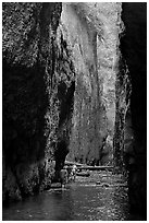 Hikers wading, Oneonta Gorge. Columbia River Gorge, Oregon, USA ( black and white)