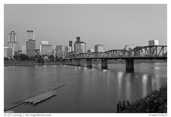 Williamette River and Portland skyline at night. Portland, Oregon, USA (black and white)